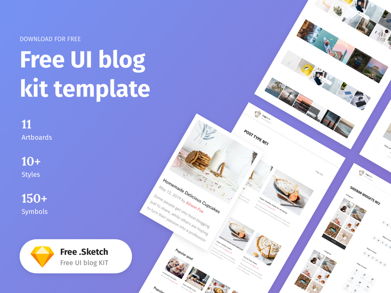 UI Blog Kit Template for Sketch
