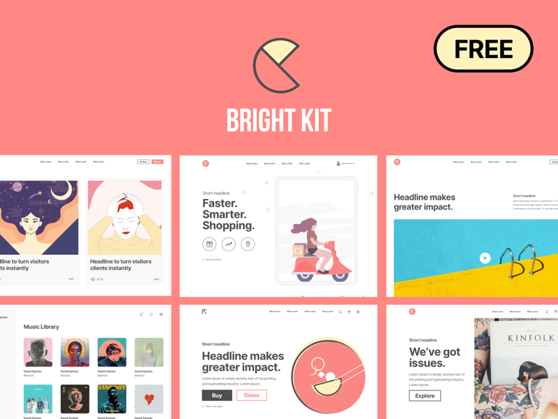 Bright Kit - 70+ Free Web Layouts UI Kit