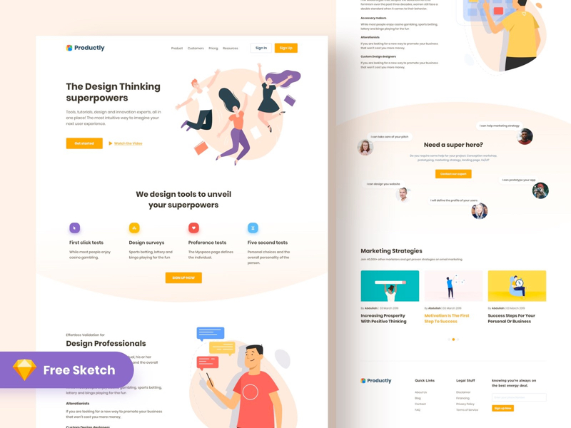 Productly - Free Landing Page for Sketch