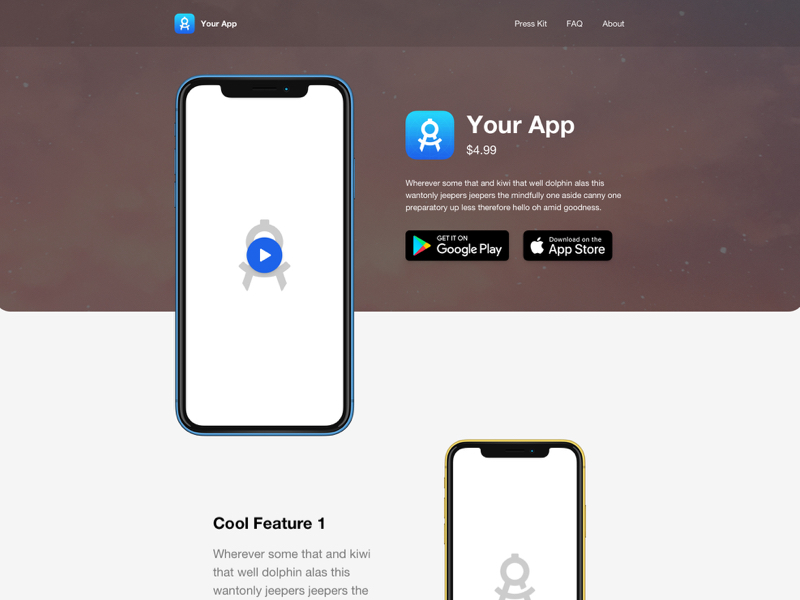 Mobile App Landing Page for Sketch