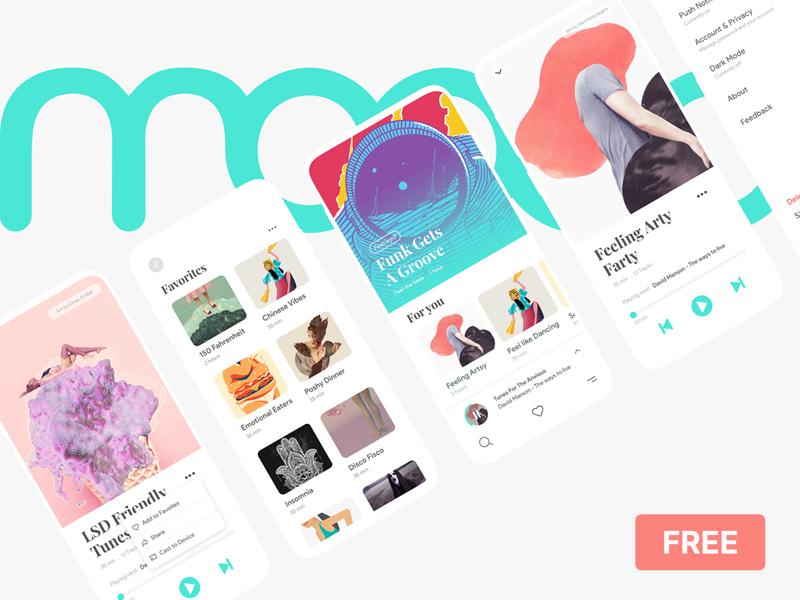 Moood Music App UI Kit for Adobe XD