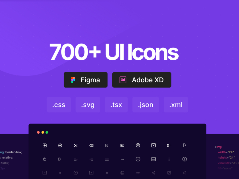 700+ UI Icons for Figma and Adobe XD
