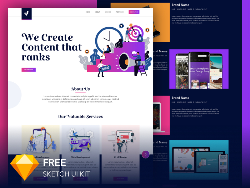 Digital Marketing Landing Page for Sketch