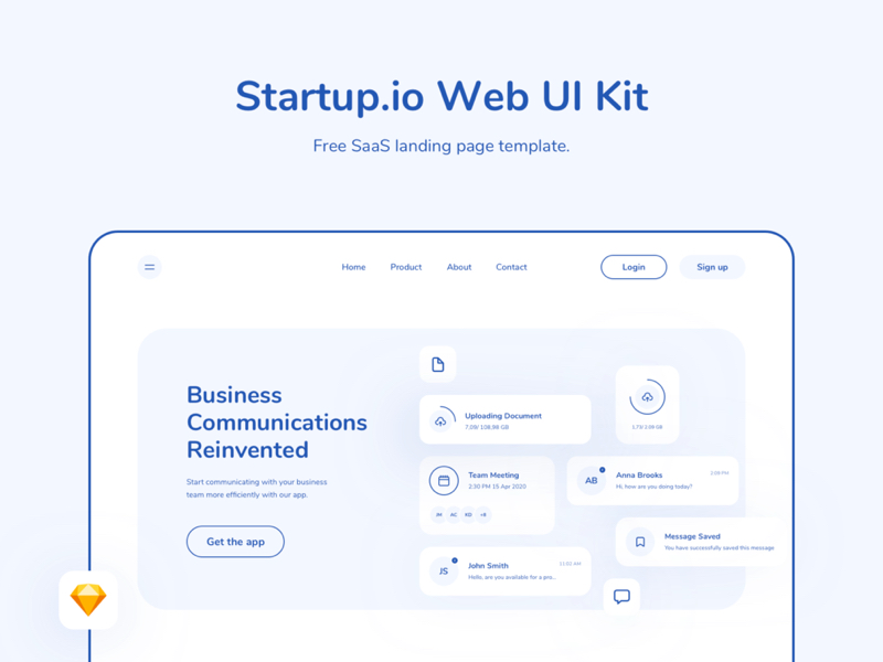 Startup.io - SaaS Web Landing Page UI Kit for Sketch