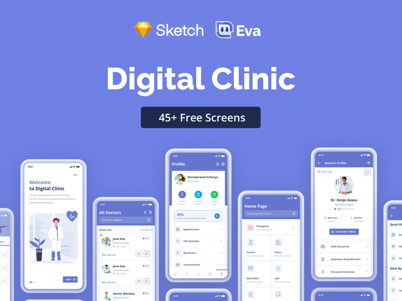 Digital Clinic Free UI Kit for Sketch