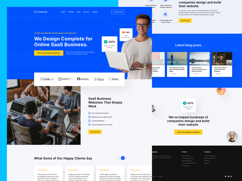 SaaS Business - Free Landing Page for Sketch
