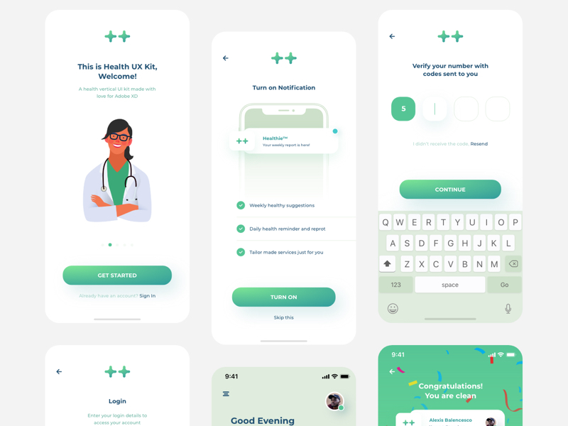 Health Industry Design System UI Kit for Adobe XD