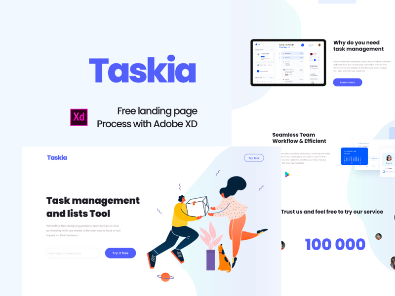 Taskia - Free Landing Page for Adobe XD