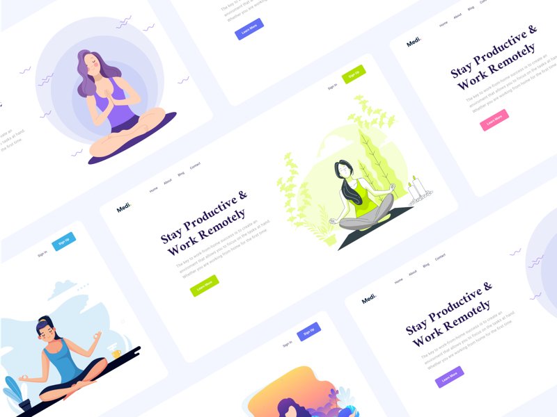 Medi - Meditation Web Headers for Figma