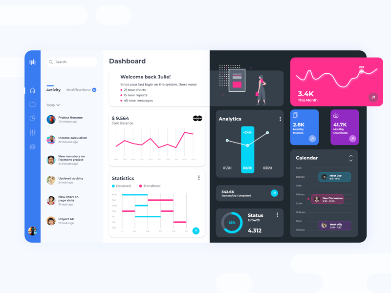 XdDash - Free Dashboard UI Kit for Adobe XD