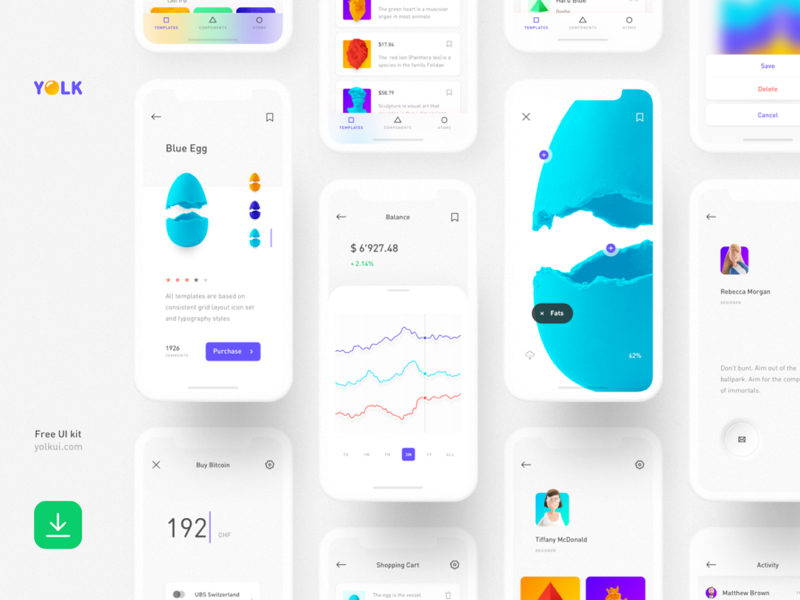 Yolk Free iOS UI Kit Design System for Sketch