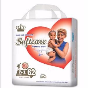 Softcare Premium Baby Diapers Medium(6-9Kg) 62pcs
