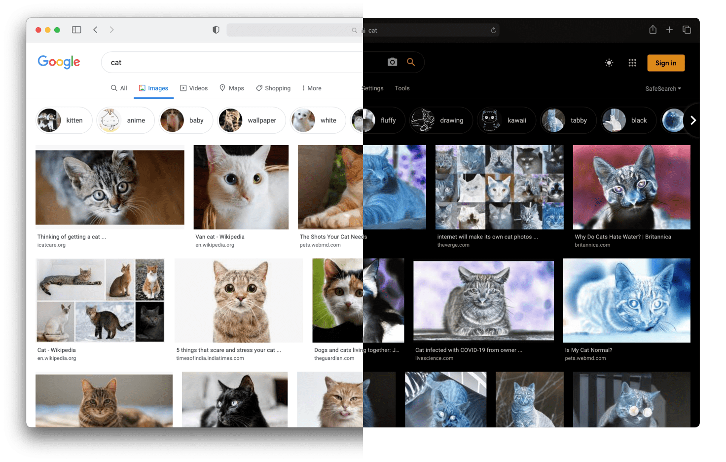 Screenshot of a Google Images search for cats. Split in half where the first half is normal. In the second half, the colours are inverted