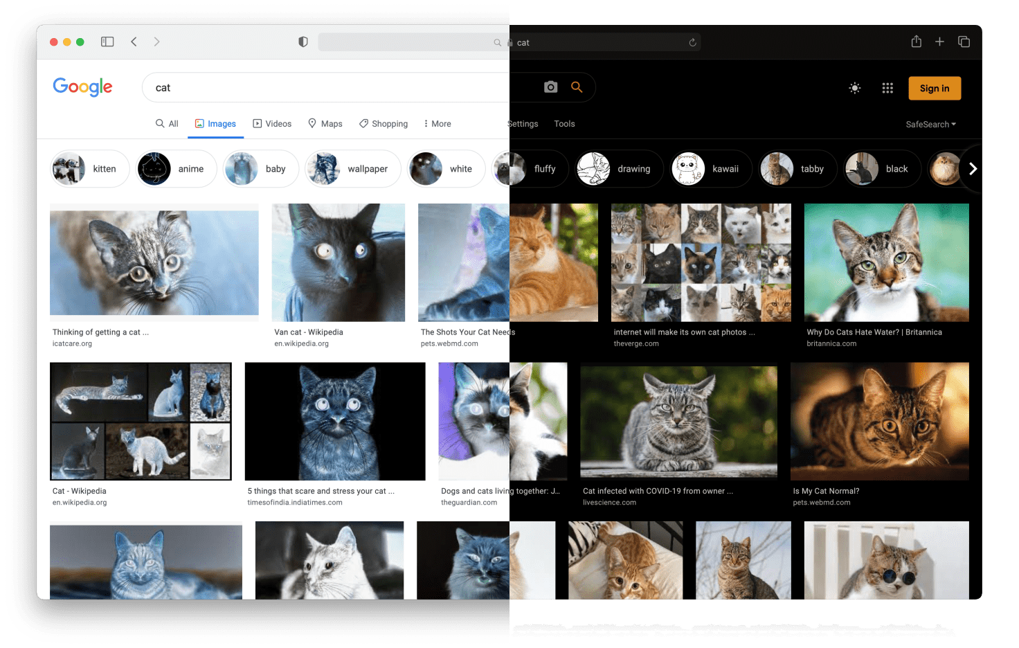 The same screenshot as before, only this time, the colour of the images on the page are inverted. This results in the second half, where all colours are inverted except for the images