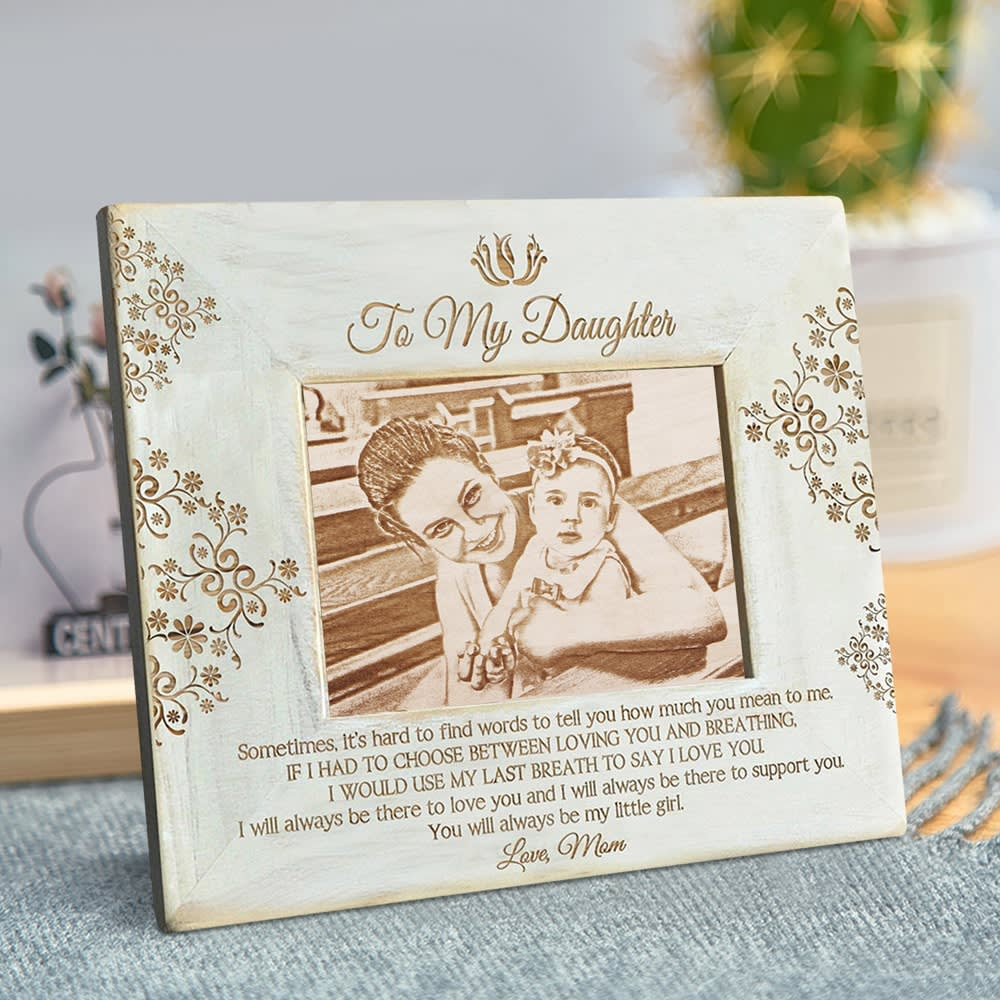 Personalized Engraved Wooden Photo Frame Customized Natural Wood Memory Picture Frame Display for Family Gift Home Decoration