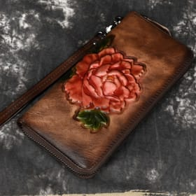 Embossed Genuine Leather Women Clutch