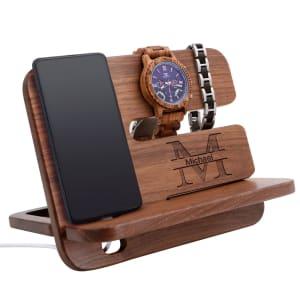 Personalized Walnut Phone Docking Station and Key Holder