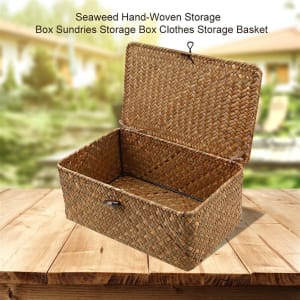 Hand Woven Seaweed Storage Basket Container