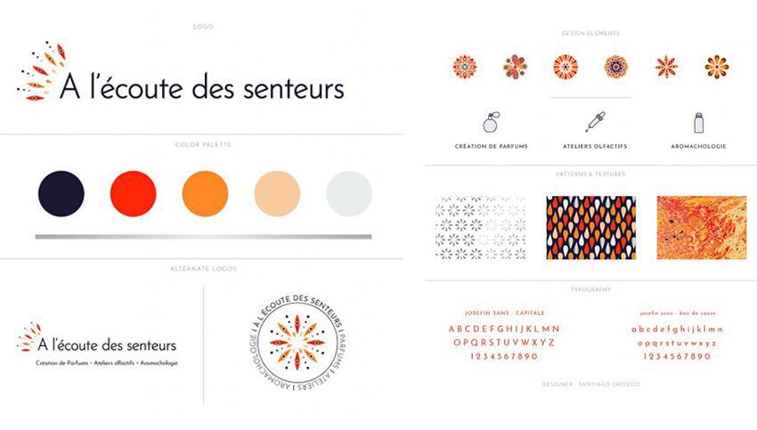 Charte graphique de la marque de parfums : A l'écoute des senteurs