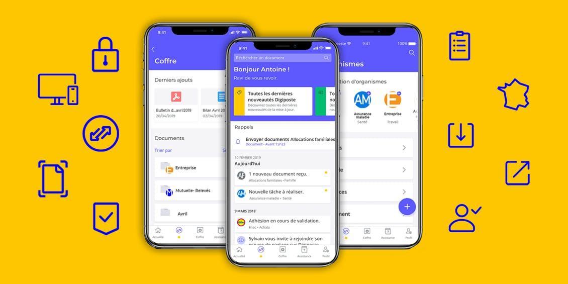 Nouveau design de l'application Digiposte