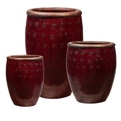TALL CERAMIC URN W/ SWIRLS 7453