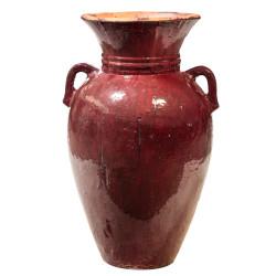 RUSTIC RED CERAMIC JAR W/HANDLES RR7281
