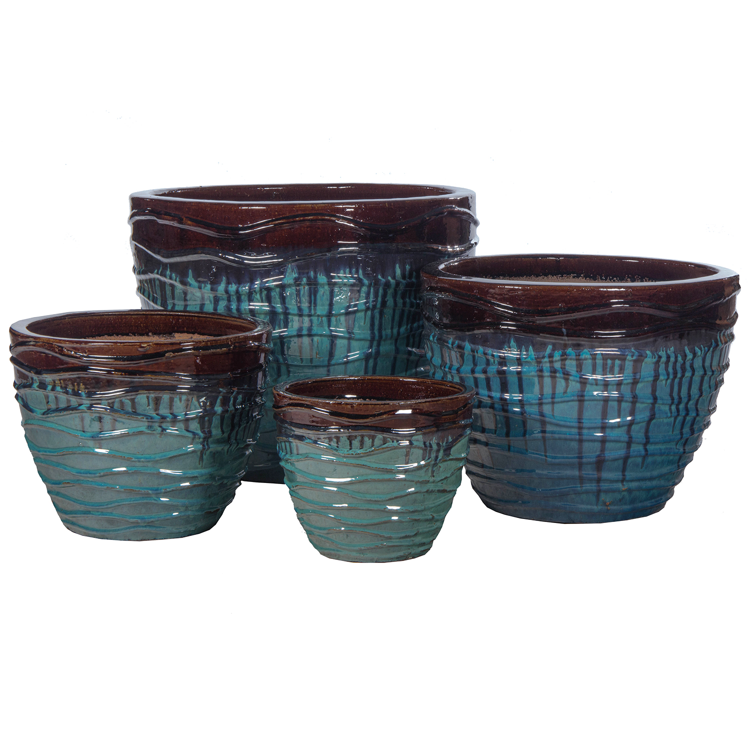 SET OF 4 CERAMIC PLANTERS