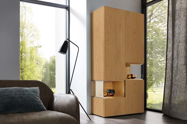 NEO – Glass cabinet (wood versions)