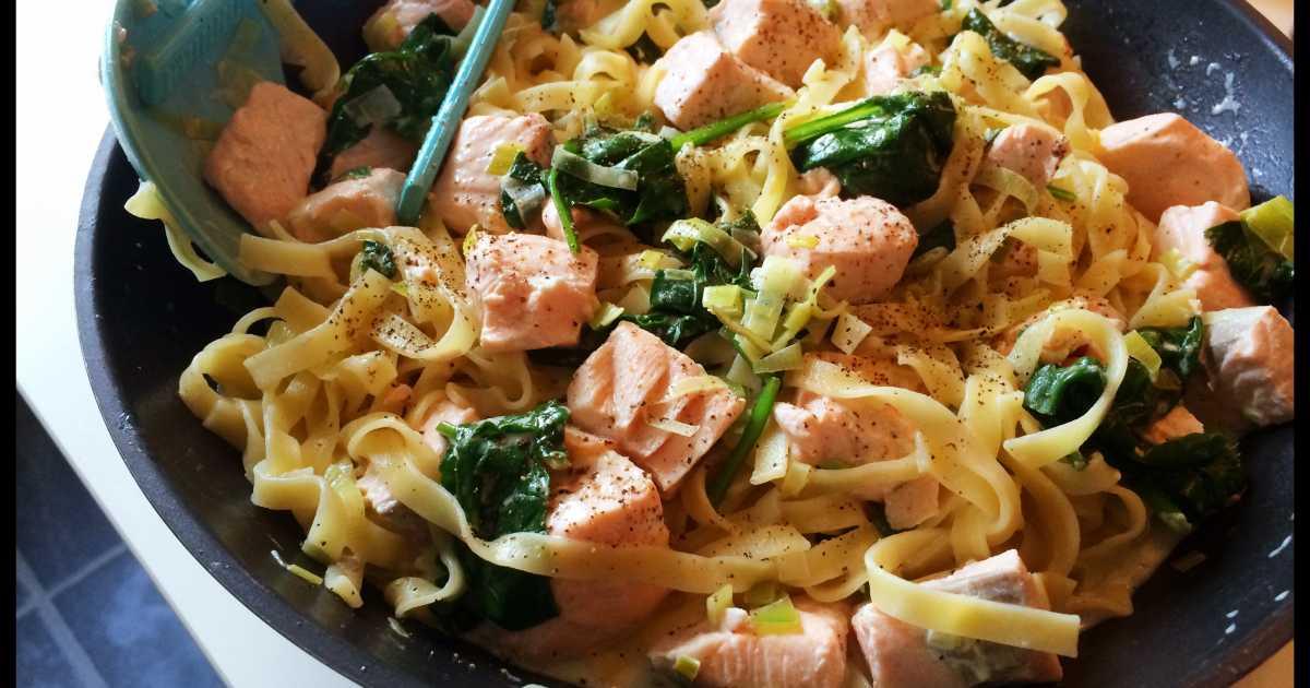 krämig pasta med gravad lax