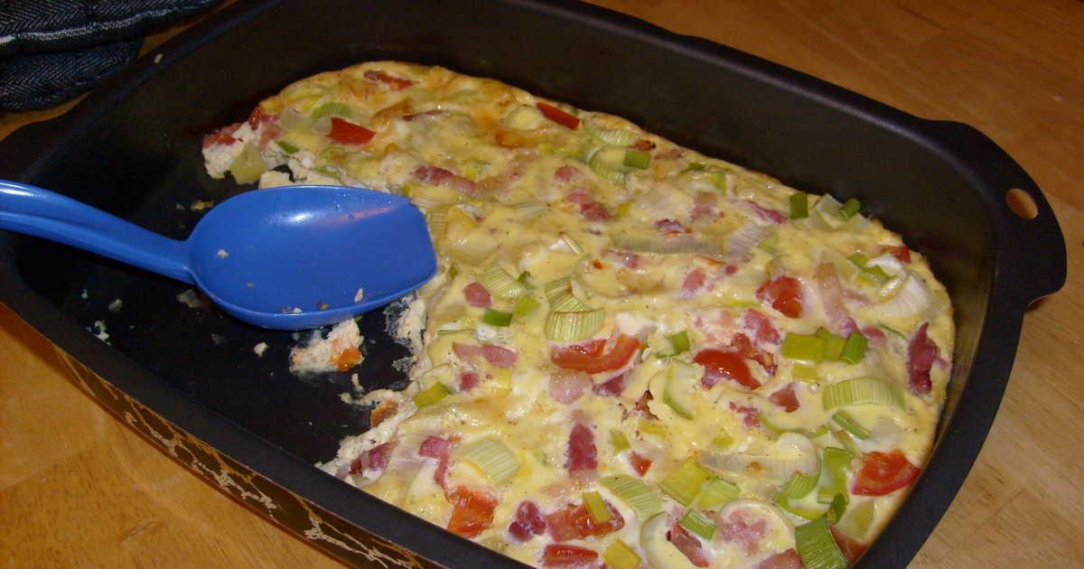 omelett skinka lök
