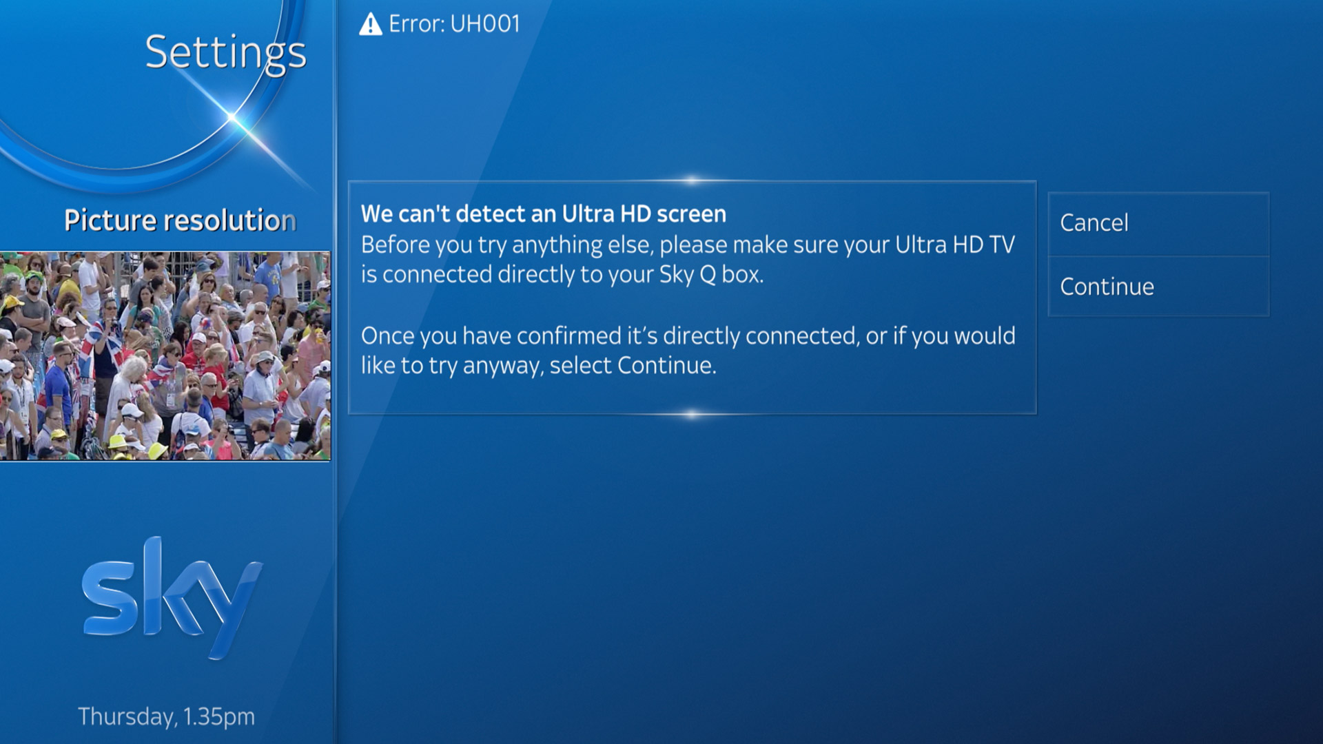 UH001 We can't detect an Ultra HD screen error message