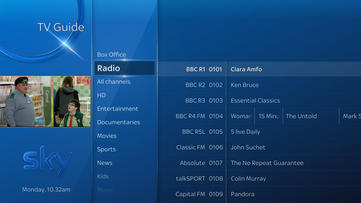 Sky Q TV Guide in Radio category, browsing radio shows
