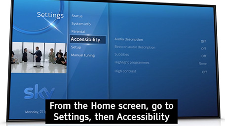 Accessibility settings on Sky Q