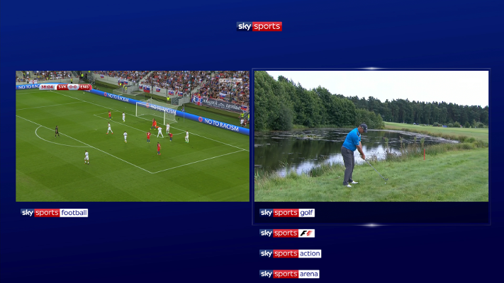 Image of football match alongside golf, viewing on two sports channels at the same time