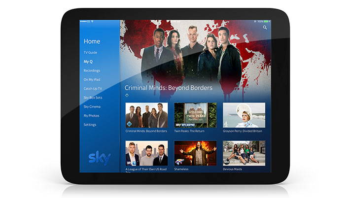Image of tablet with Sky Q open, showing the TV Guide