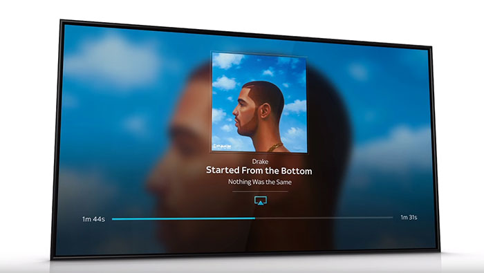 TV with Drake's album playing on screen