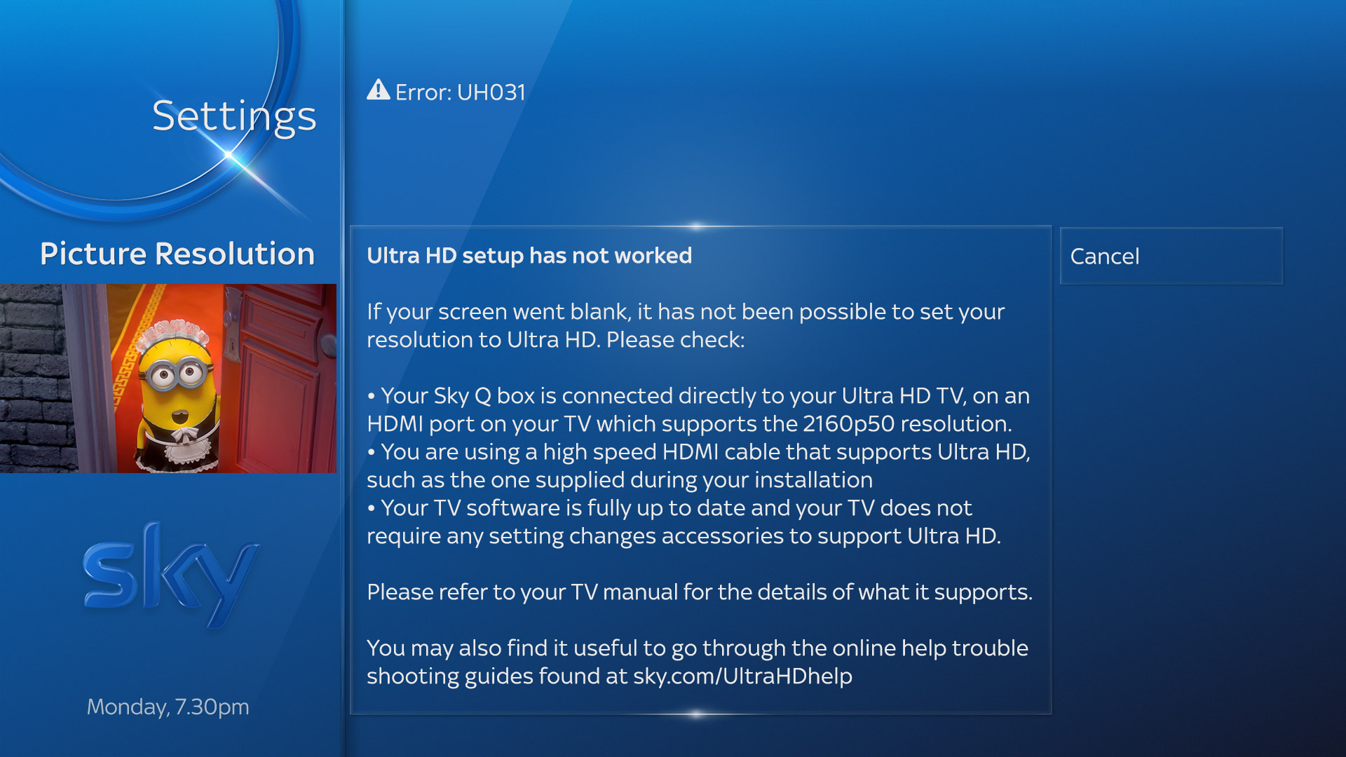 UH031 Ultra HD setup has not worked error message