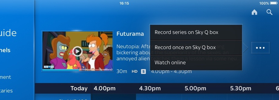 Cropped image - Sky Q app open in the TV guide, a show selected showing the options to record series or show on Sky Q box