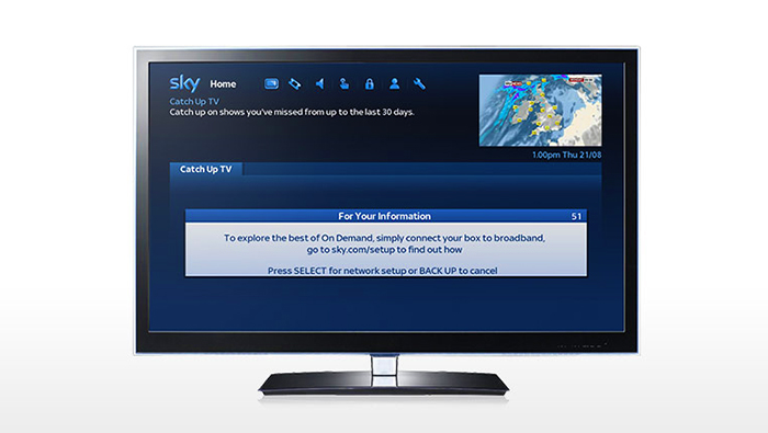 TV showing go to sky.com/setup to find out how to connect to on demand