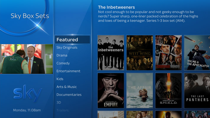 Sky Q Box Sets menu, Featured higlighted
