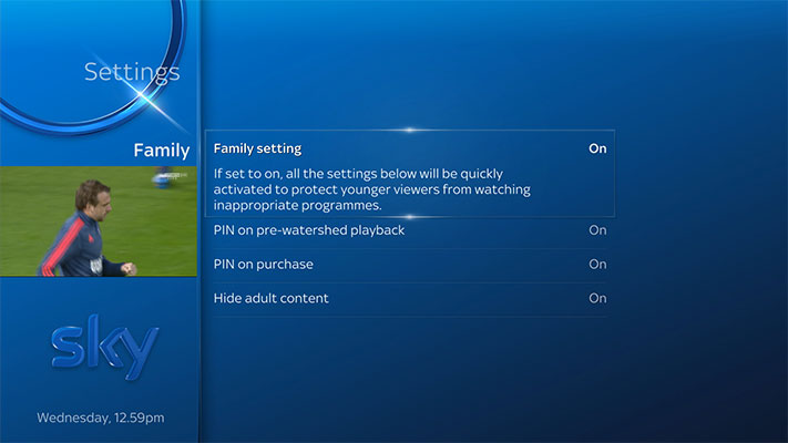 Screenshot of Sky Q menu Parental showing Family setting switch on and all other categories in Family switched on