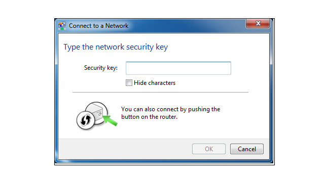 Enter your password in the Security key field