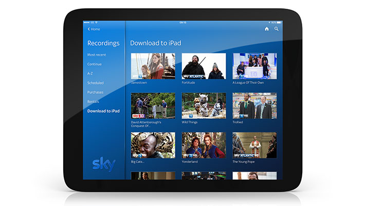 Sky Q app showing shows that can be downloaded to the device from the Sky Q box