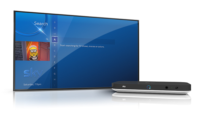 Image of Sky Q silver box, with TV screen showing Sky Q search