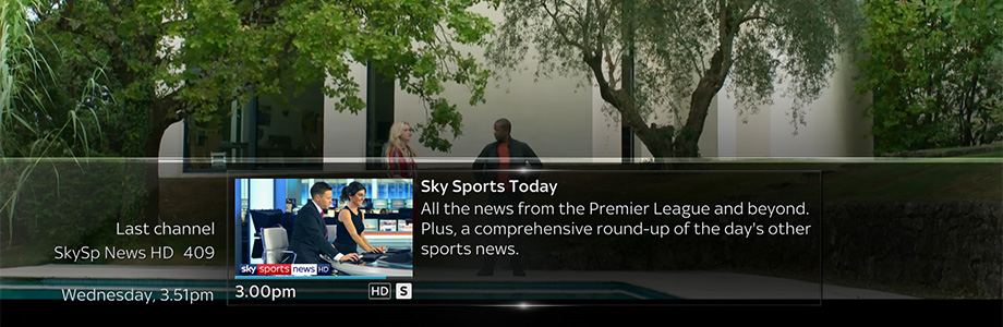 Sky Q screenshot showing the last viewed channel banner displayed while watching TV