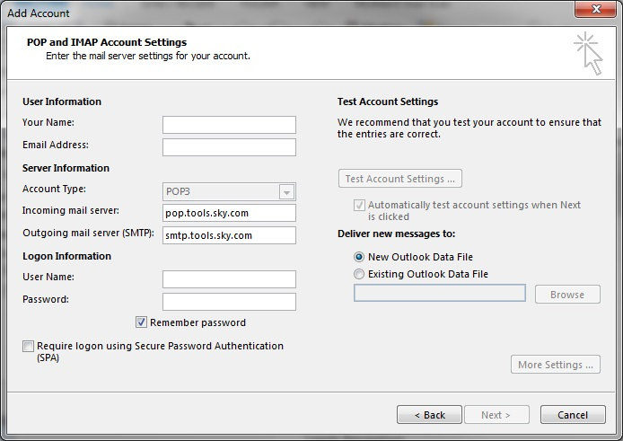 Outlook 2013 settings
