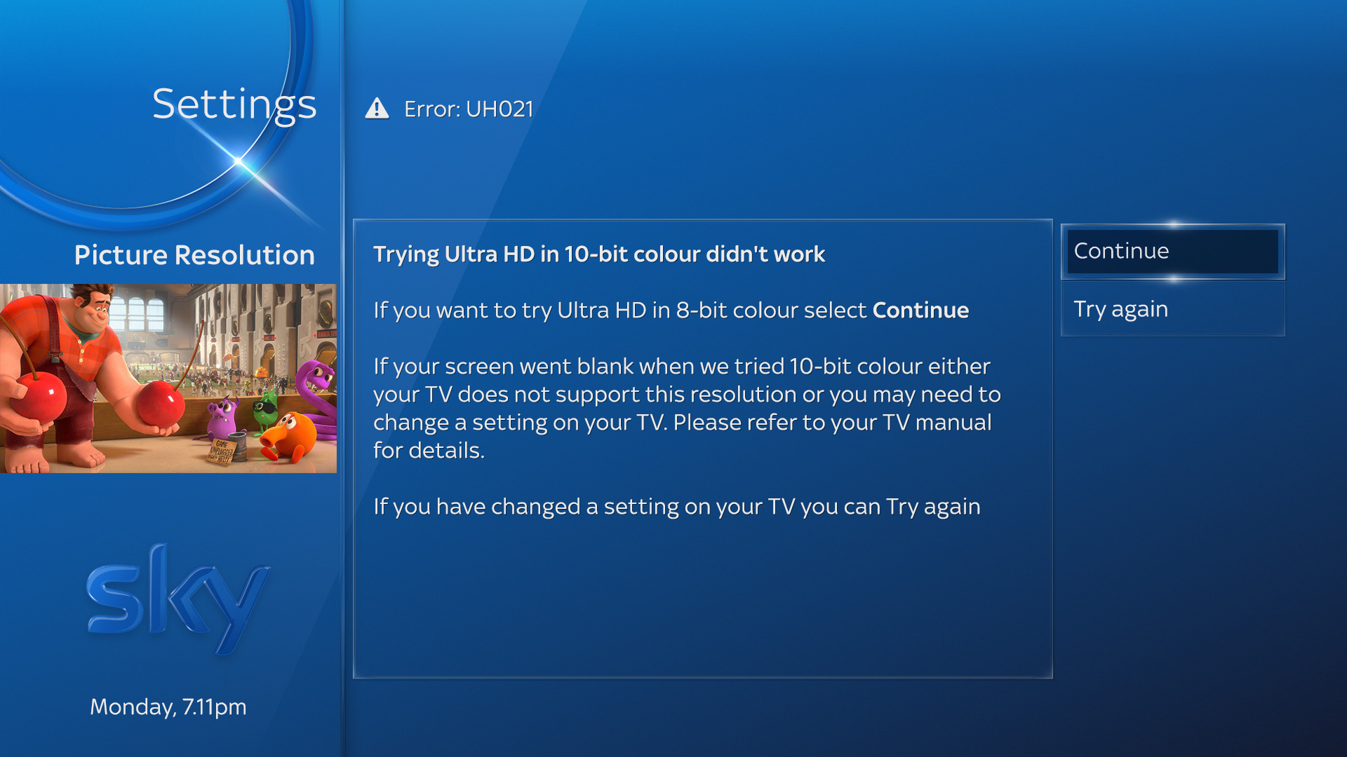 Trying Ultra HD in 10-bit colour didn't work error message