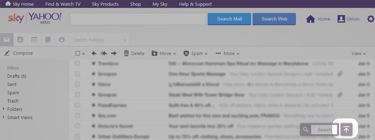 Screenshot of Yahoo Mail's infinite scroll function