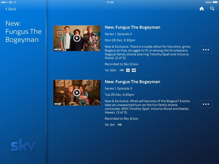 Sky Q app showing on demand show already recorded to Sky Q box