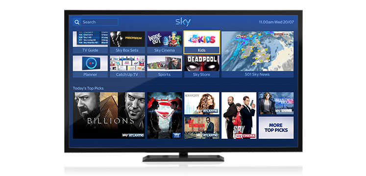 Sky+ Homepage with the Kids tile selected